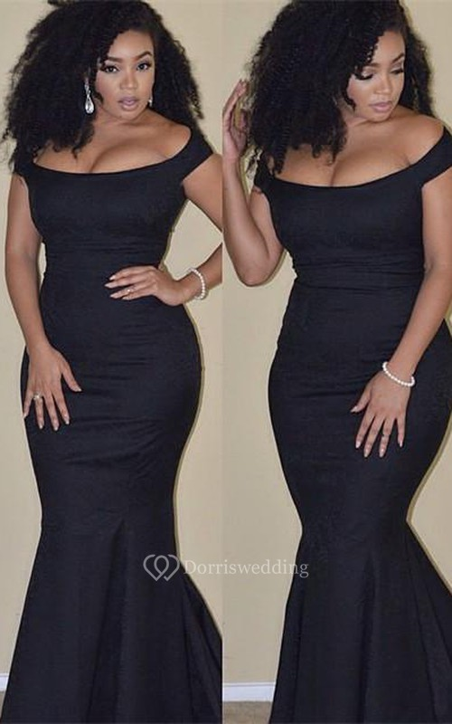 Sexy Black Mermaid 2018 Prom Dress Plus Size Off The