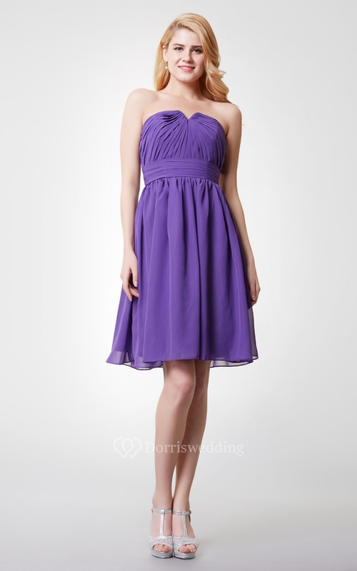 Sleeveless V-cut Neck Ruched Short Chiffon Dress With Zipper Back
