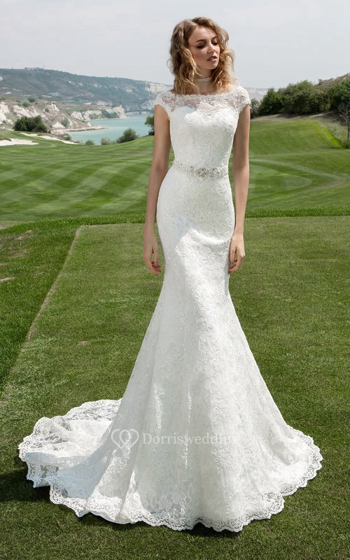 Bateau neck cap sleeve sheath wedding dress with beaded for Simple wedding dresses for small wedding