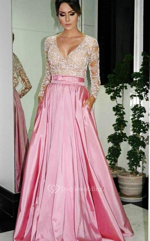 Elegant A-Line V-neck Prom Dresses Long Sleeve Evening Dresses With Beadings