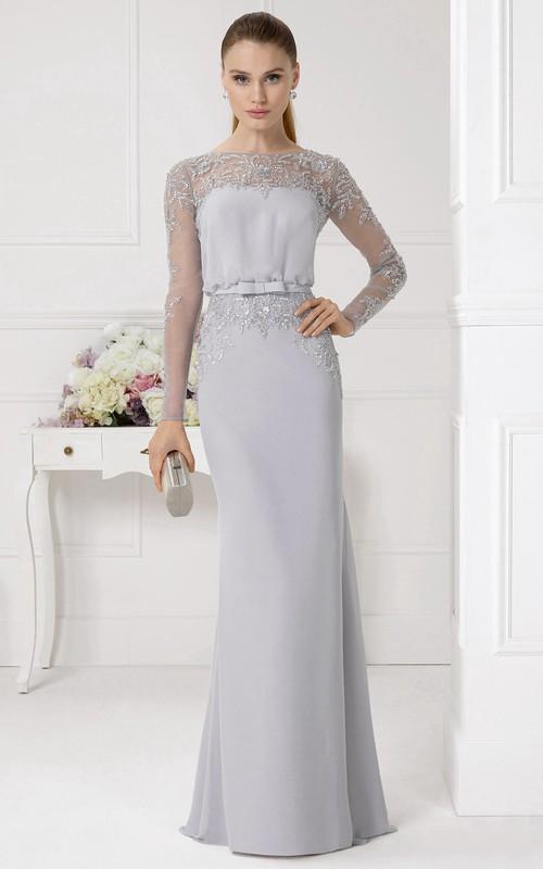 Sheath Beaded Jewel Neck Illusion Sleeve Chiffon Prom Dress - Dorris ...