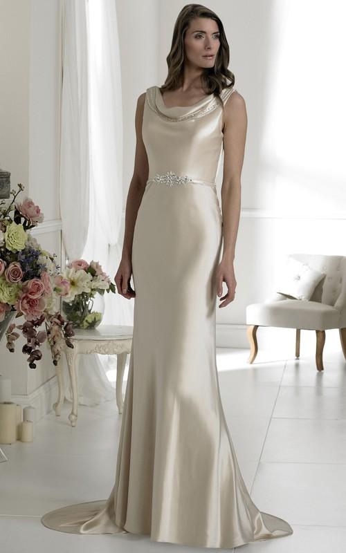 Sheath Cowl-Neck Sleeveless Satin Wedding Dress With Waist Jewellery ...