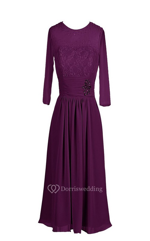 3-4 Sleeve Chiffon Dress With Embroidered Bodice