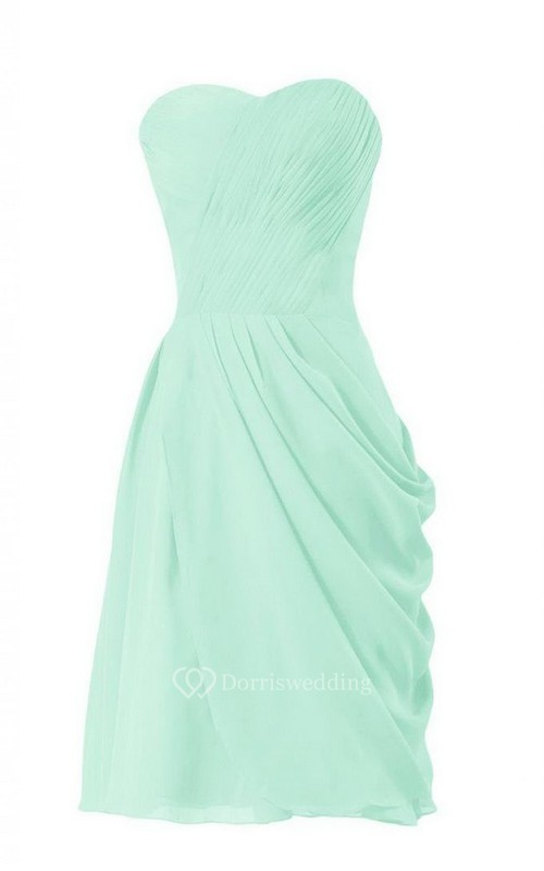 Chic Strapless Sweetheart Side-drappping Short Dress