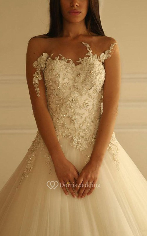 Delicate Sweetheart Tulle Princess Wedding Dress With Flowers Appliques