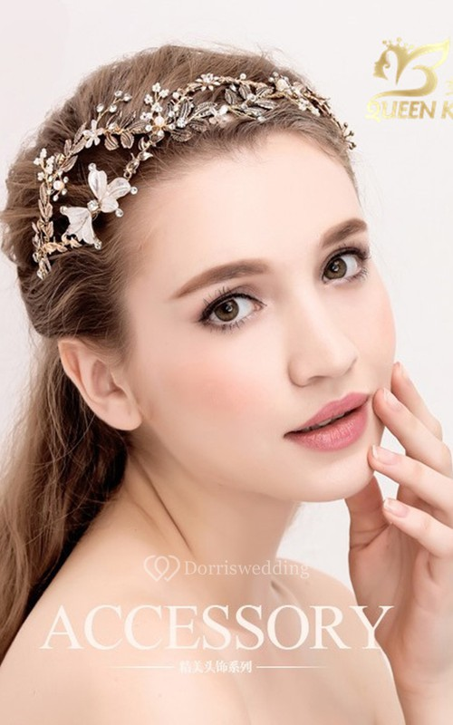 Vintage Handmade Golden Leaves Rhinestones Alloy Flower Hair Band Headband