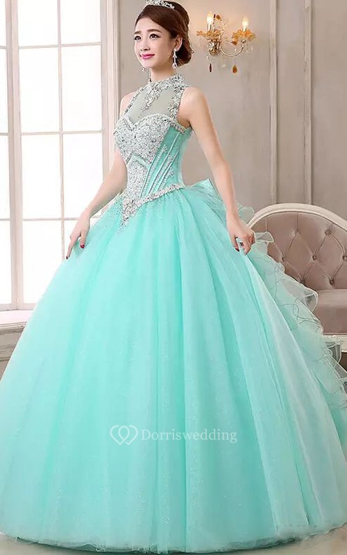 High Neck Ball Gown Floor-length Sleeveless Organza Tulle Prom Dress with Lace-up Keyhole Back