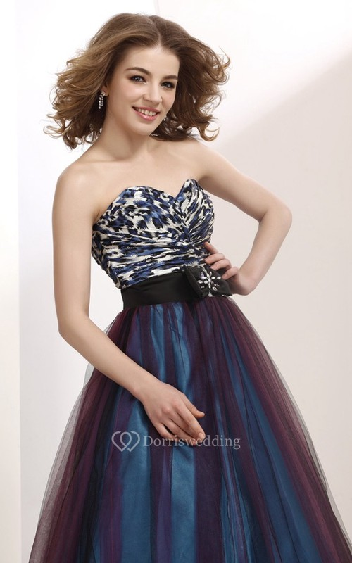Muti-Color Sweetheart A-Line Dress With Tulle Overlay