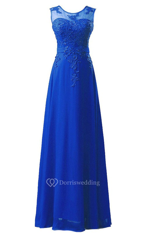 Amazing Sleeveless Chiffon Long Dress With Lace Applique