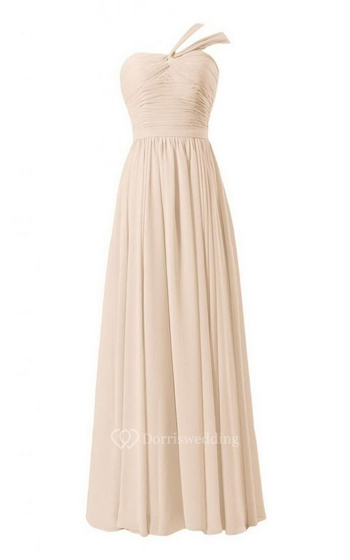 One-shoulder Long Chiffon Dress With Pleats