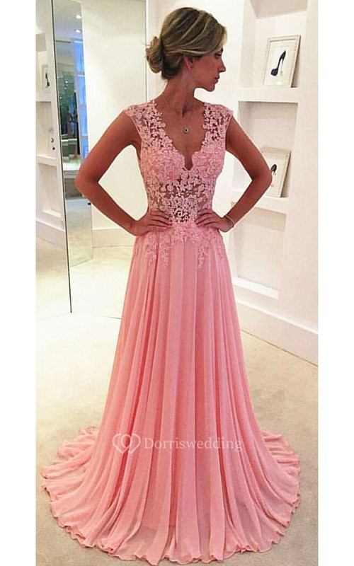 Beautiful Pink Sleeveless Lace Appliques Prom Dresses 2018 Long ...