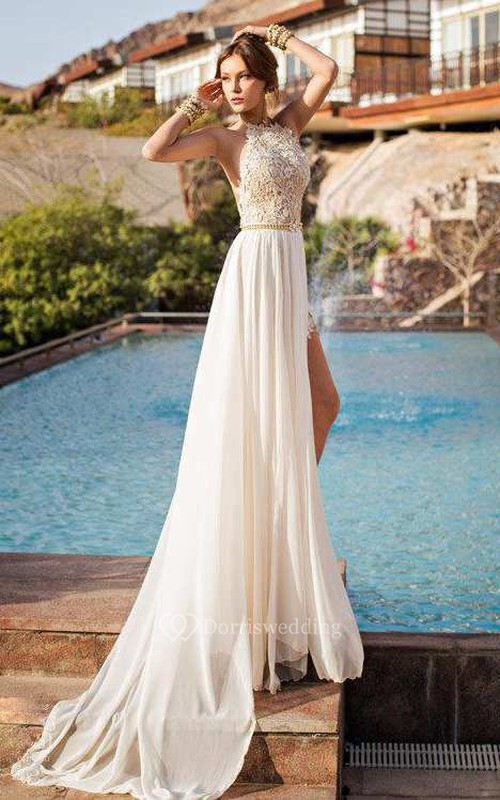 High Neck Sleeveless Lace Wedding Dress With Chiffon Skirt