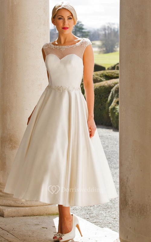 Tea-Length A-Line Cap Sleeve Bateau Neck Appliqued Satin Wedding Dress