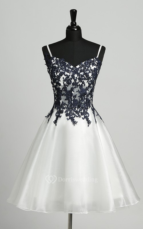 A-Line Sleeveless Short Mini Straps Elegant Romantic Organza Dress with Appliques