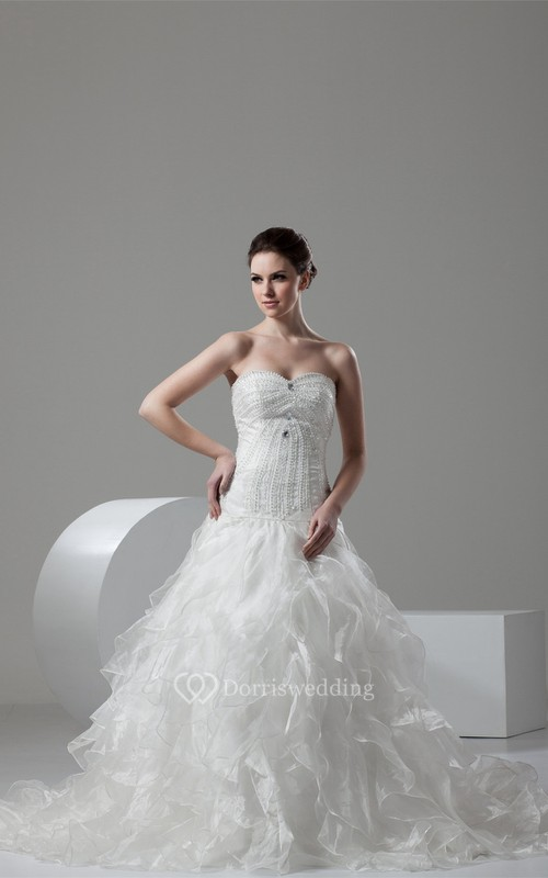 Sleeveless A-Line Beaded Chapel Train and Gown With Ruffles