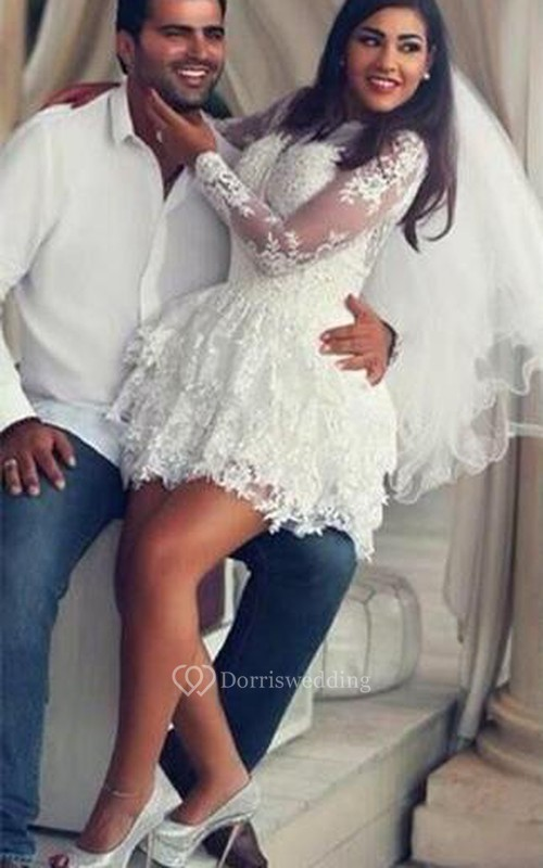 Delicate Lace Appliques Short White Homecoming Dress 2018 Long Sleeve