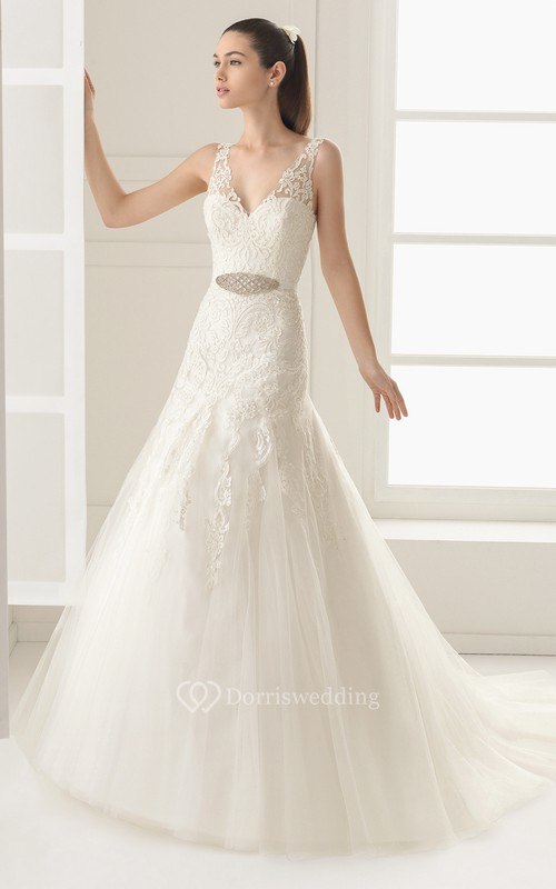 Dropped Waistline Gown With Delicate Beaded Sash