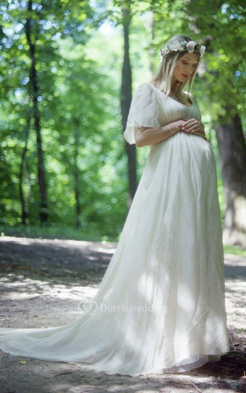 A-line Bat Short Sleeve Empire Maternity Wedding Dress