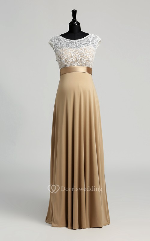 A-line Bateau Cap Short Sleeve Floor-length Jersey Lace Maternity Dress