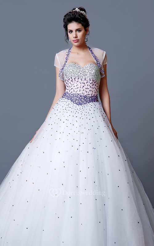 Eclectic Ombre-beaded Sweetheart Layered Tulle Quinceanera Ball Gown ...