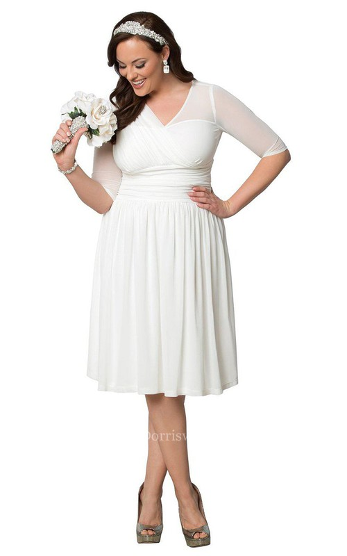 Plus Size Knee-length Gown with Half sleeves and Ruffles - Dorris ...