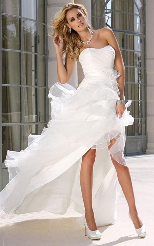 Strapless Asymmetrical Ruffled Satin Wedding Dress With Ruching ...