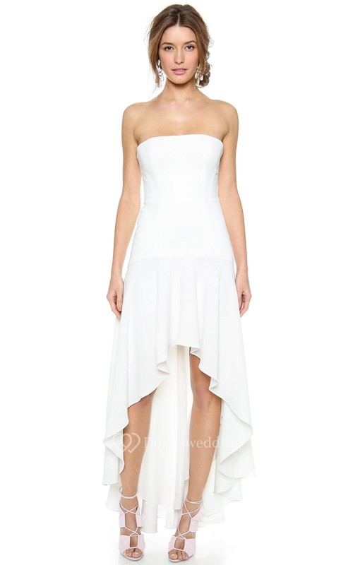 High Low Strapless A-line Chiffon Dress