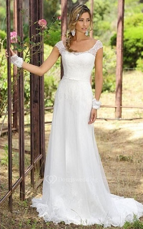 Sheath Cap-Sleeve Scoop-Neck Tulle Wedding Dress With Lace ...