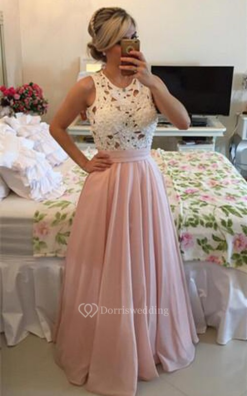Modern Illusion Chiffon A-line Prom Dress 2018 Lace Pearls