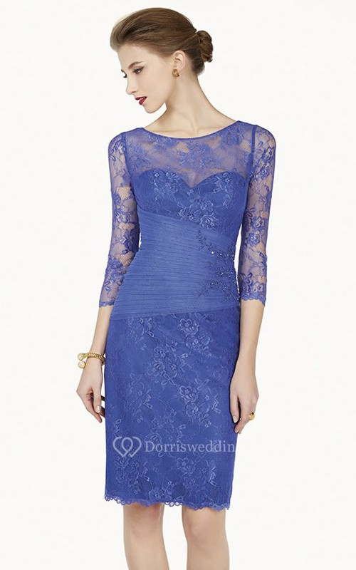 Pencil Appliqued Scoop-Neck 3-4-Sleeve Midi Lace Prom Dress