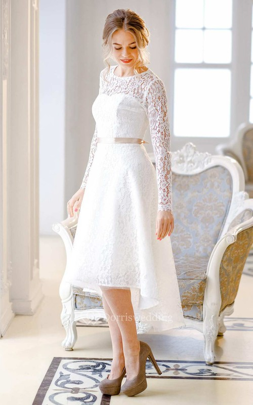 Short Mini Knee-Length Satin Lace Lace-Up Corset Back Wedding Dress ...