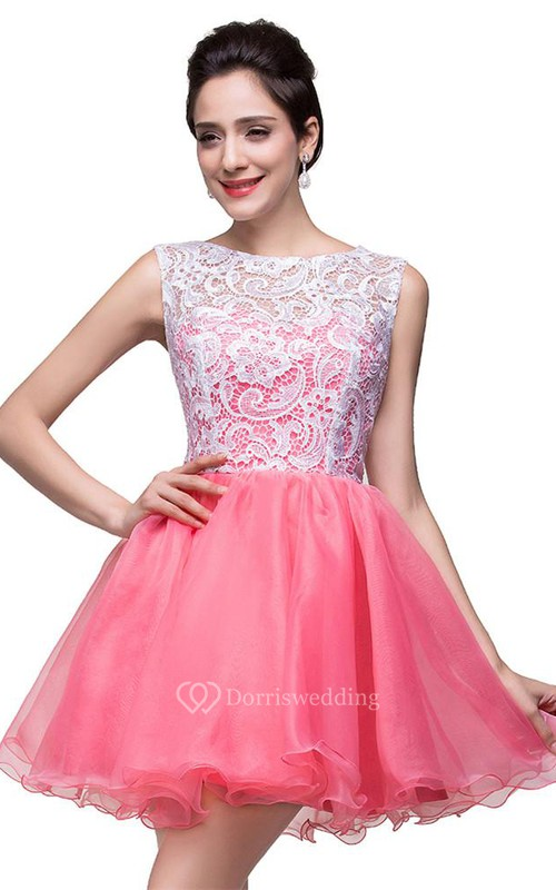 Lovely Sleeveless Lace Homecoming Dress Short 2018