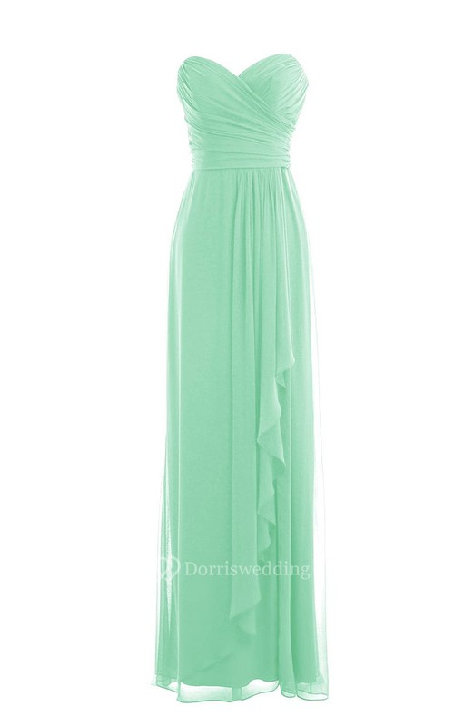 Sweetheart Ruched Chiffon Sheath Gown With Drapping