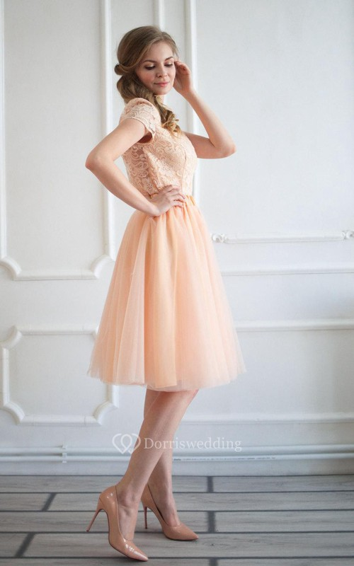 Bateau Cap Sleeve V Back A-line Tulle Short Dress With Lace Top