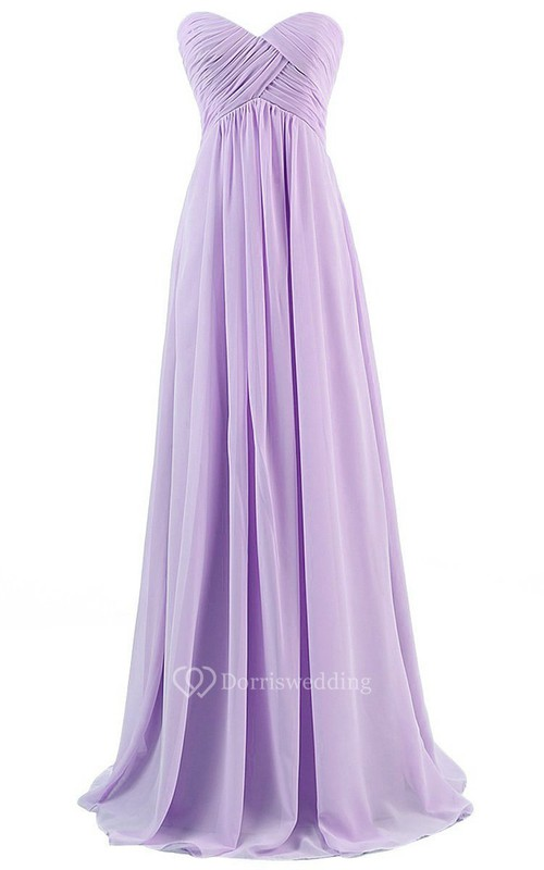 Strapless Sweetheart Ruched Chiffon Empire Gown
