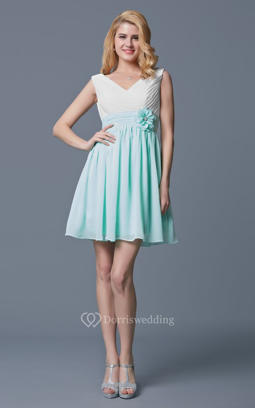 Sleeveless V Neck Empire Waist Short Chiffon Dress - Dorris Wedding