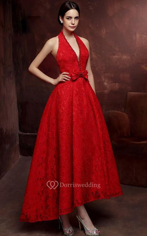 A-Line Halter Beaded Bowknot Lace Prom Dress