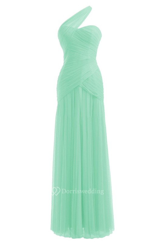 Simple One-shoulder Sweetheart Ruched Sheath Gown