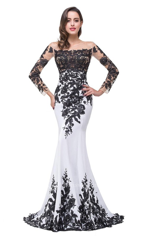 Glamorous Long Sleeve Mermaid 2018 Evening Dress Black Appliques Mother Dress