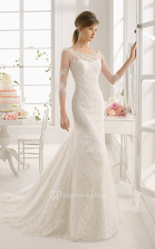 Maxi Scoop Half Sleeve Appliqued Lace Wedding Dress With Watteau ...