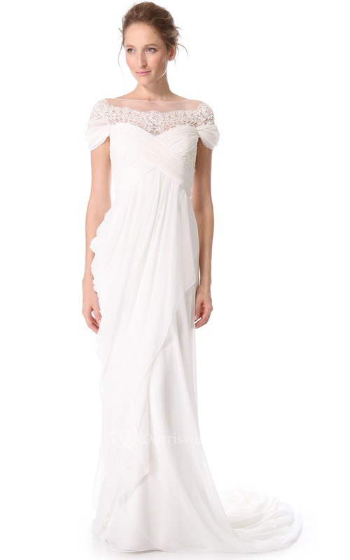 Long Off-Shoulder Empire Chiffon Dress With Keyhole