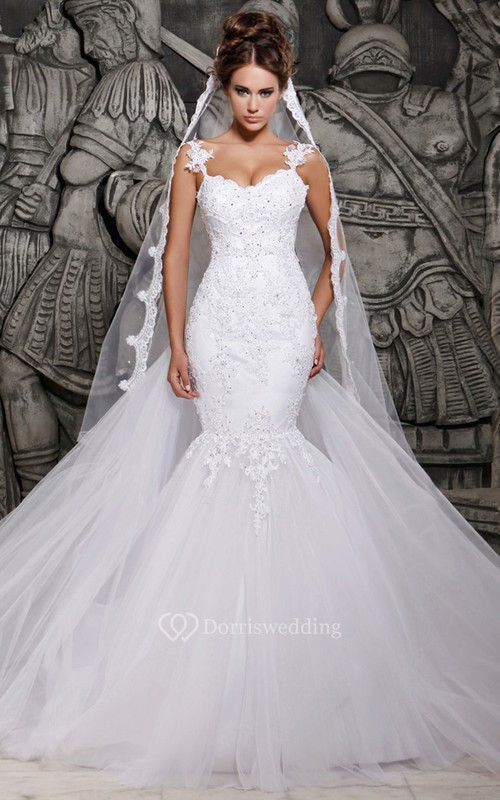Magnificent Lace and Tulle Mermaid Dress with Wedding Veil