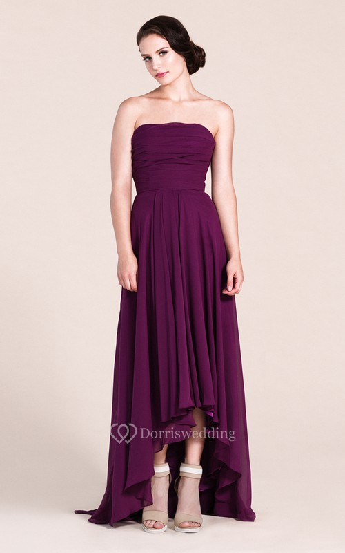 Strapless High-low Chiffon Gown With Pleats - Dorris Wedding