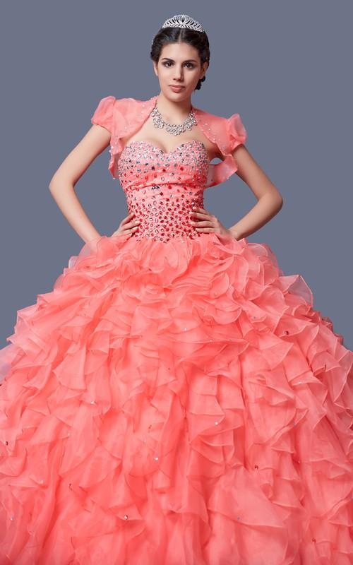 2d4816b5040 Ombre Ruffled Organza Quinceanera Dress Dorris Wedding