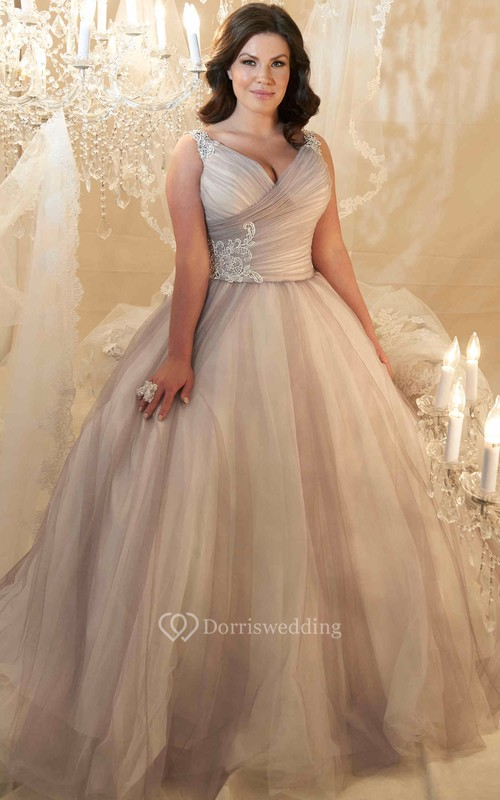 Ball Gown V-Neck Beaded Sleeveless Tulle Plus Size Wedding Dress ...