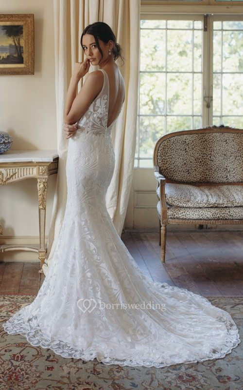Plunging V-neck Sexy Mermaid Sleeveless Lace Court Train Bridal Gown With Deep V-back