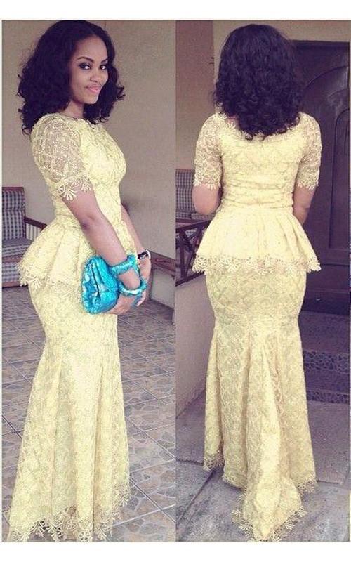 ce79403db2c Modern Lace Mermaid Yellow Prom Dress 2018 Short Sleeve - Dorris Wedding