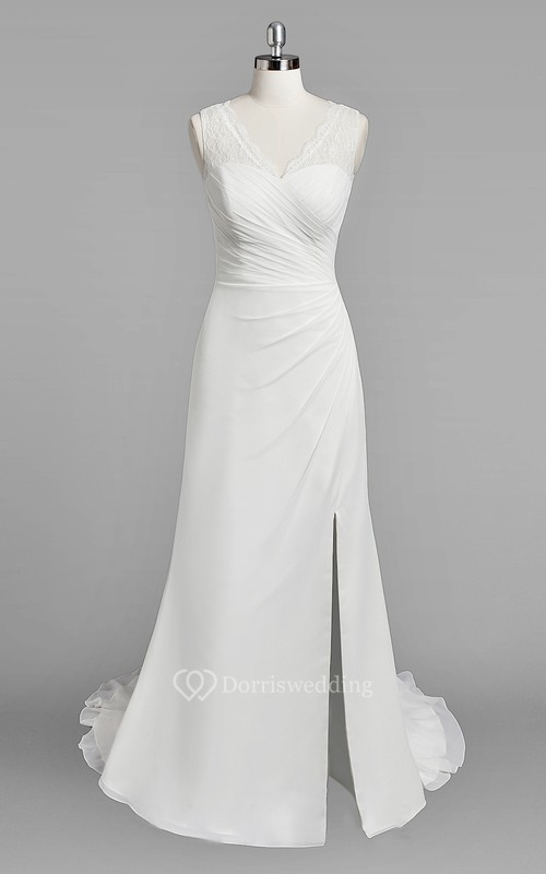 V Neck Sleeveless Sheath Chiffon Wedding Dress With Ruching And