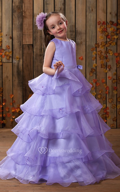 Charming High-Neck A-Line Flower Girl Dress With Tiers