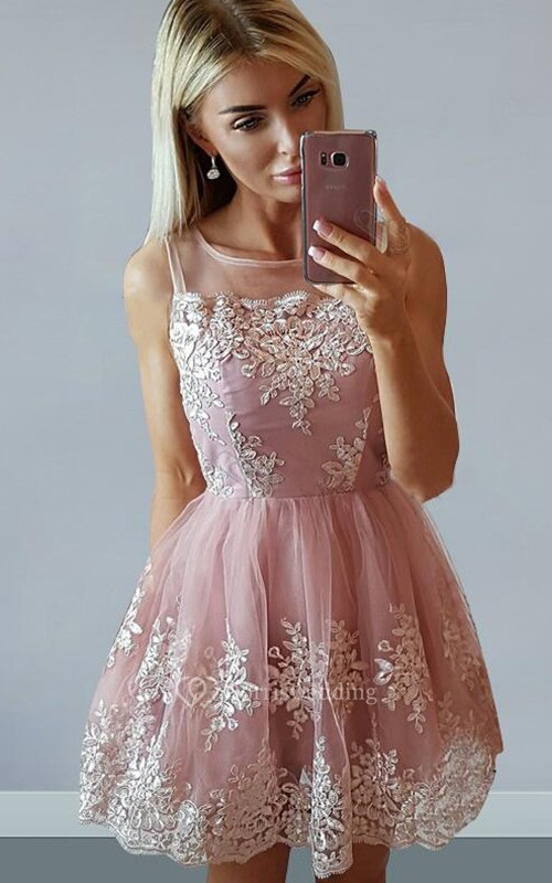 A-line Sleeveless Lace Bateau Zipper Short Mini Homecoming Dress